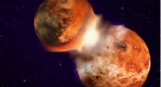 תיאור אמנותי של ההתנגשות בין 'טיה' לכדור הארץ, שהובילה להיווצרות הירח. מקור: חגי פרץ. ביצירת התמונה נעשה שימוש בתמונות מארגוני החלל האירופיים והאמריקאים (ESA, NASA).