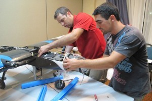 Technion team members working on the airborne system