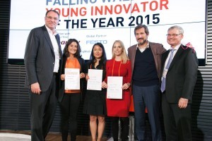 The three winners, together with the organizers of the competition