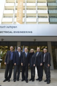 - Right to left: Prof. Boaz Golani, Alan and Caryn Viterbi, Professor Andrew Viterbi, Technion President Prof. Peretz Lavie and Dean of the Faculty of Electrical Engineering Prof. Ariel Orda.
