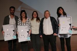 Photo (right to left) Liz Leibovitz, architect Moshe Tzur, Azrieli Foundation Chairman Danna Azrieli, Noa Gantz and Amit Chelouche Photo Credit: Raphael Delouya