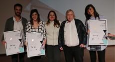 """בתמונה (מימין לשמאל) ליז לייבוביץ, האדריכל משה צור, יו""""ר קרן עזריאלי דנה עזריאלי, נועה גנץ ועמית שלוש. קרדיט צילום : רפי דלויה"""