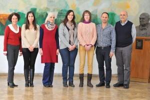 מימין לשמאל : פרופ' בן ציון לוי, אלי בוך, יבגניה אורלוב, ניצן קרינסקי, חנאן אבומנהל, מאריה סלאמה, ורדית גילאור