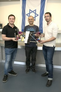 1. Students Igor Kantor (right) and Eli Zalianski (left) with their advisor Koby Kohai, head of the Control Robotics & Machine Learning Lab at the Technion Faculty of Electrical Engineering, advised the students on the project, and the robotic xylophone.