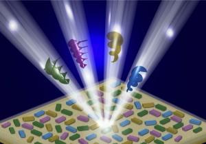 בתרשים: הדגמה סכמתית של אלומות אור שונות, בעלות תנע-זוויתי, הבוקעות ממערכי ננו-אנטנות