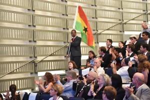 נציג המשלחת מגאנה, המשתתפת לראשונה באוניברסיטת החלל הבינלאומית