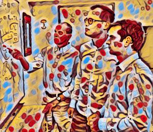 """מיזוג של תמונות על ידי רשת נוירונים תוך שילוב בין תוכן (תמונת החוקרים המקורית) וסגנון (שנלקח מציור של ממתקים). לדברי פרופ' אלעד, """"הרשת מחפשת והוזה תוצאה שתהיה נאמנה לשני המקורות הללו"""""""