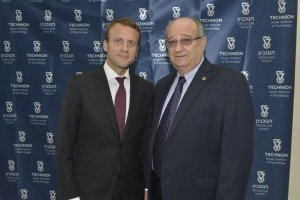 Technion President Prof. Peretz Lavie with Emmanuel Macron, French President-Elect