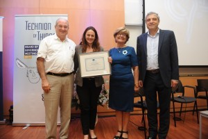 (L-R) Technion President Prof. Peretz Lavie, Asst. Prof. Asya Rolls,  Rebecca & Sidney Boukhris administrator and founder of ADELIS Foundation