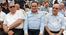 בתמונה מימין לשמאל: נשיא הטכניון פרופ' פרץ לביא, שר התחבורה והמודיעין ישראל כץ וראש עיריית חיפה- יונה יהב.