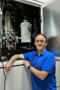 Dr. Yaron Kaufman, head of the Electron Microscopy Center at Technion's Department of Materials Science and Engineering, beside the new microscope