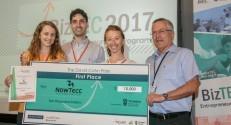 NowTecc, first place winners - from right to left: Prof. Boaz Golany, Taly Bonder, Tal Yahav, and Anastasia Logi