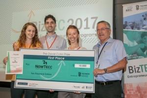 הזוכים במקום הראשון. מימין לשמאל: פרופ' בועז גולני, טלי בונדר, טל יהב ואנסטסיה לוגביננקו