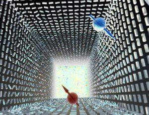 """המפץ הגדול הפוטוני: אי סדר חלש יוצר הפרדה חלשה ננומטרית בין פוטונים עם ספין הפוך (אדום וכחול) – """"אפקט ספין-הול פוטוני"""". רק באי סדר מוחלט מתרחש """"המפץ הפוטוני"""" – פוטונים בספינים הפוכים מתפצלים וממלאים את כל מרחב התנע – """"אפקט רשבא הפוטוני"""". התופעה מתארת מעבר פאזה טופולוגי שמתבטא בשבירת סימטריה. המחקר נערך בהשראת מודלים בקוסמולוגיה שמתארים את המפץ הגדול. בתמונה מתוארות ננואנטנות מסיליקון, והמעבר מאנטנות מסודרות בכיוונן לאי סדר מוחלט מתבטא במדידת עליה חדה של האנטרופיה (כמדד לאי סדר)."""