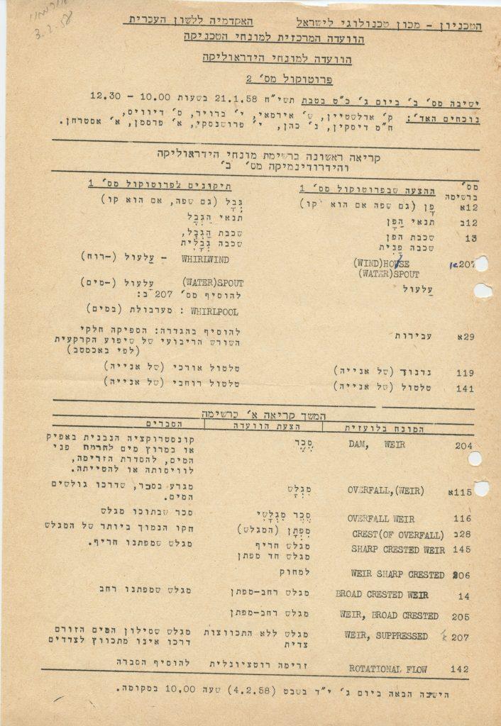 בתמונה: פרוטוקול הישיבה המשותפת של הטכניון והאקדמיה ללשון העברית מיום 21 בינואר 1958.