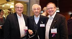 מימין לשמאל: פרופ' רפי ביאר, עוזיה גליל ופרופ' פרץ לביא. צילום : פיוטר פליטר
