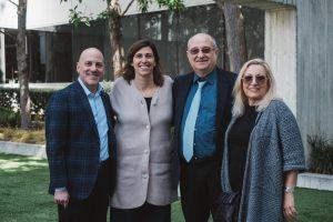 """בתמונה (מימין לשמאל) ד""""ר לינה לביא, נשיא הטכניון פרופ' פרץ לביא, נשיאת קרן דילר ג'קי ספיר ומנכ""""ל אגודת ידידי הטכניון בארה""""ב ג'ף ריצ'רד קרדיט תמונה : ATS"""