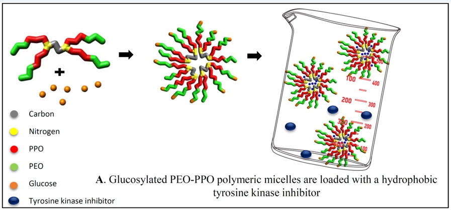 Glucosylated PEO-PPO polymeric Micelles are loaded with a hydrophobic tyrosine kinase inhibitor
