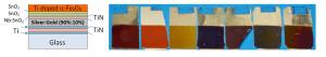 """חתך רוחב סכמתי של המבנה הרב-שכבתי בהתקן שפותח ע""""י דר' חן דותן, ותמונה של התקנים בעלי שכבות בעוביים שונים."""
