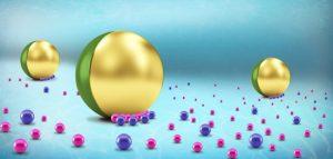 חלקיק יאנוס (ירוק-צהוב) המשמש להובלת מטענים (ורוד) באופן סלקטיבי ודינמי לנקודת היעד באמצעות שדה חשמלי חיצוני