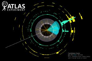 בתמונה: היווצרות של צמד קווארקי b כתוצאה מדעיכת חלקיק היגס. שני האזורים הירוקים בתמונה הם החתימות של שני סילוני חלקיקים שיצרו הקווארקים. האיור באדיבות ATLAS Collaboration/CERN