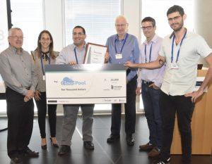 First place winner CloudPool. Right to left: Yanai Tevet, Shai Haim, Yehuda Bronicki, Michael Zeisler (CloudPool), Meital Nissim, and Prof. Boaz Golany