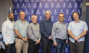 (L-R) Naveen G. Rao, Prof. Dan Geiger, Dean of Computer Science Department, Prof. Boaz Golany, Dr. Michael (Mike) C. Mayberry, Dean of the Faculty of Industrial Engineering and Management Prof. Carmel Domshlak and Dean of The Viterbi Faculty of Electrical Engineering Prof. Nahum Shimkin