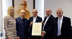 (L-R) Julia and Yuri Milner with presidents Prof. Joseph Klafter, Prof. Peretz Lavie and Prof. Asher Cohen