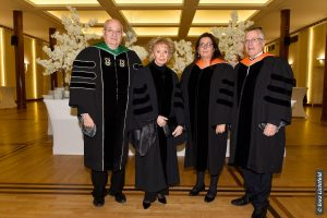 [L-R] Technion President Prof. Peretz Lavie; Prof. Marcelle Machluf, Dean of the Faculty of Food Engineering and Biotechnology; Madame Lily Safra, Prof. Boaz Golany, Vice President for External Relations and Resource Development