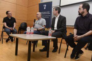 """חברי הפאנל. מימין לשמאל: פרופ' דייגו ארנהה, ד""""ר איבו קוביאס, ד""""ר יורם אורן ופרופ' אור דונקלמן. צילום: רמי שלוש, דוברות הטכניון"""