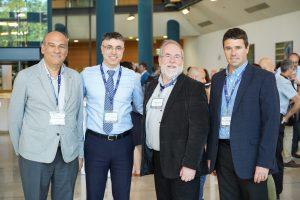 מימין לשמאל: פרופ' אבי שרודר, פרופ' קנת סוסליק, פרופ' חוסאם חאיק ופרופ' קוראדו די נטלי