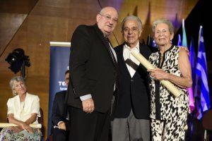 נשיא הטכניון פרופ' פרץ לביא יחד עם מרלין ויוג'ין שפירו