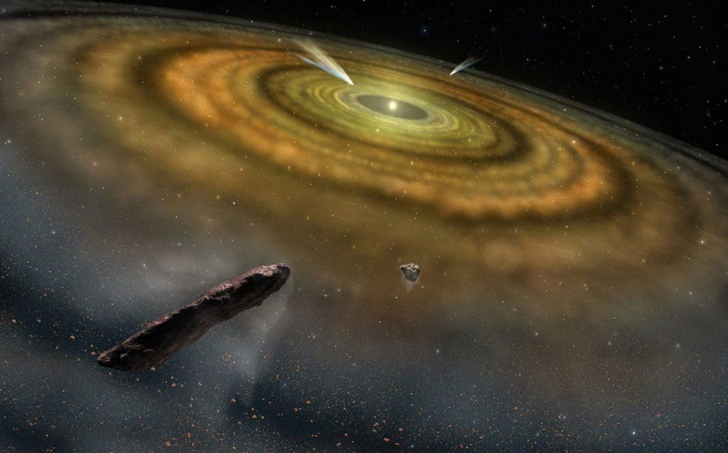 איור של מערכת-השמש בשלביה המקודמים, עם עצמים דמויי-אומואמואה. האיור באדיבות NASA / ESO / Danor Aharon