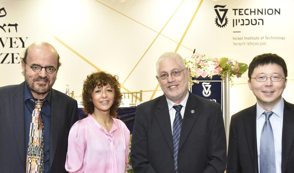 From left: Prof. Christos H. Papadimitriou, Prof. Emmanuelle Charpentier, Technion President Prof. Uri Sivan, Prof. Feng Zhang