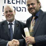 Technion President Prof. Uri Sivan awards the prize to Prof. Christos H. Papadimitriou