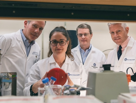 L-R : Gregory Priebe, Christina Merakou, Alexander McAdam, and Tom Sandora (Photo: Michael Goderre/Boston Children's Hospital)