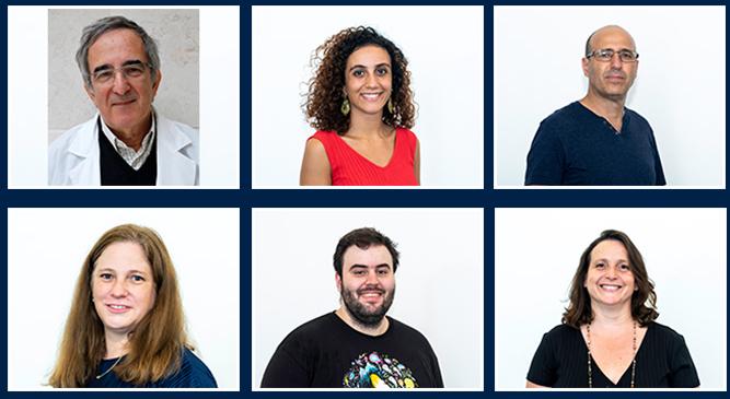 (l-r) Professor Shai Izraeli, Dr. Sara Isabel Fernandes, Professor Eyal Gottlieb, Dr. Inbal Mor, Jonatan Fernández García, Ifat Abramovich.