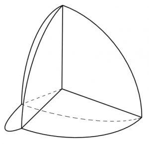 תרשים מחקר מילמן. באיור: החלוקה האופטימלית של מידה גאוסית סטנדרטית במימד 3 ל-4 חלקים ממידות גאוסיות נתונות, הממזערת את שטח השפה הגאוסי המשותף, נתונה על-ידי תאי וורונוי של טטראדר רגולרי.