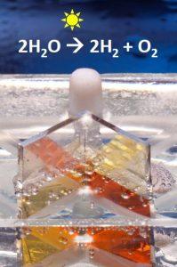 תמונה מדעית : פיצול מים למימן וחמצן בתהליך הפוטו-אלקטרוכימי. (קרדיט צילום: מיקי קורן, דוברות הטכניון)