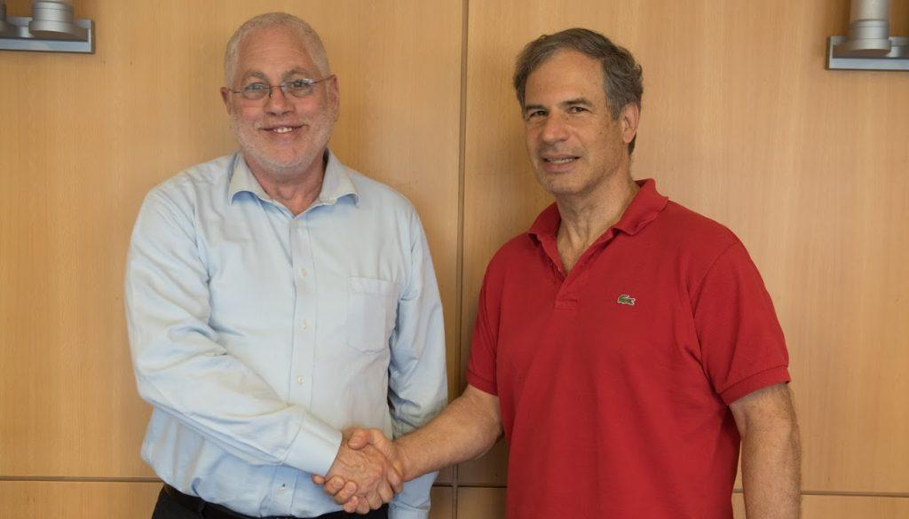Israel's next astronaut Eytan Stibbe (right) and Technion President Prof. Uri Shamir (left) at Technion City, May 2021.