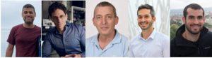 """מימין: אביב קרניאלי, ד""""ר רואי רמז, פרופ' עדי אריה, פרופ' עדו קמינר וניקולס ריוורה"""